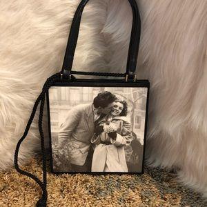 Vintage handbag with black and white pic